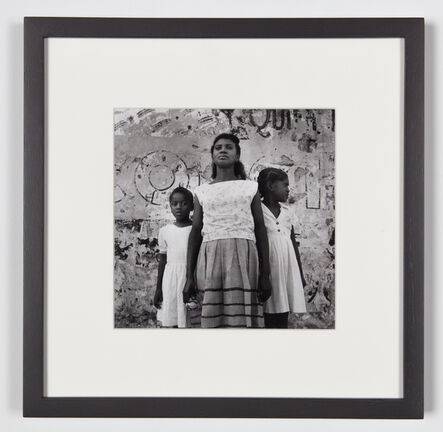 Agnès Varda, 'Santiago de Cuba - Mother & 2 girls  in front of painted wall, Santiago de Cuba (Cuba series)', 1962-1963