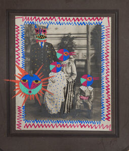 Leobardo Huerta, 'Sun family, framed mixed media vintage print intervened by the artist with paint and pen and ink ', 2019
