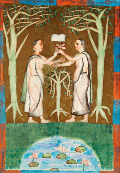 Arpita Singh, 'Gemini Twins Wordsmiths', 1999