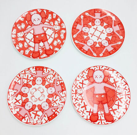 KAWS, 'Limited Ceramic Plate Set (Set of 4) - Red', 2019