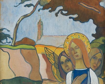 Charles Filiger, 'Madonna and Two Angels or Madonna of the Fireflies (Madone aux vers luisants)', 1892
