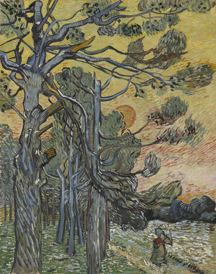 Vincent van Gogh, 'Pine Trees against a Red Sky with Setting Sun', 1889
