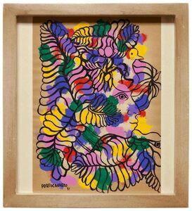René Portocarrero, 'Untitled Colorful Figure with Bird', 1940-1949