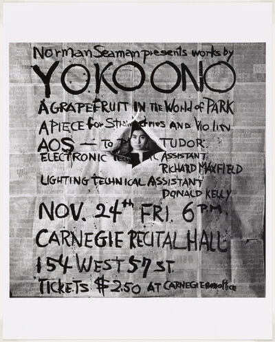 Yoko Ono, 'Works by Yoko Ono, poster, Carnegie Recital Hall, New York, November 24, 1961.', 1961