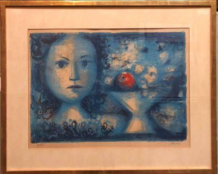 Luis Vidal Molné, 'Spanish Catalan Surrealist Lithograph Portrait Girl with Fruit Still Life', 20th Century