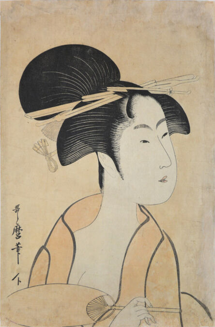 Kitagawa Utamaro, 'Courtesan Holding a Fan', ca. 1797