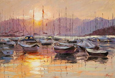 Elena Bond, 'Sundown on Resting Boats', 2016