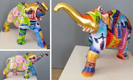 """Venkat Bothsa, 'Elephant, Paint on Fiber Glass by Contemporary Indian Artist """"In Stock""""', 2020-2021"""