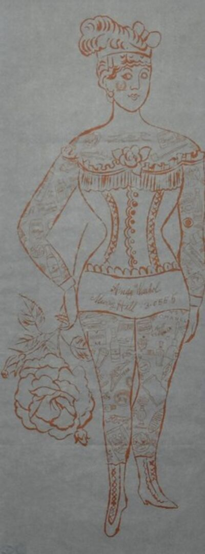 Andy Warhol, 'Tattooed Woman Holding Rose', ca. 1955