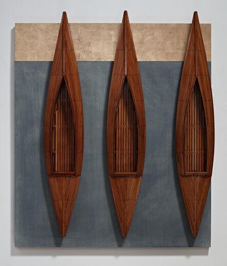 David Ruddell, 'Three Fir Boats, Blackboard, Golden Board', 2014