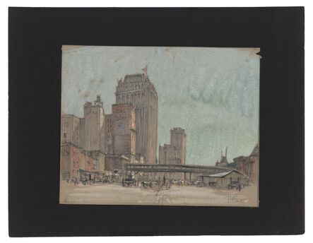 Jules Andre Smith, 'A View of Lower Manhattan with an El Terminal Building (?)', ca. 1915