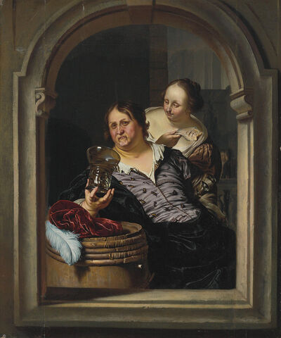 Willem van Mieris, 'A man drinking with a woman holding a fish'