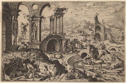Hieronymus Cock after Maerten van Heemskerck, 'Saint Jerome in a Landscape with Ruins', 1552