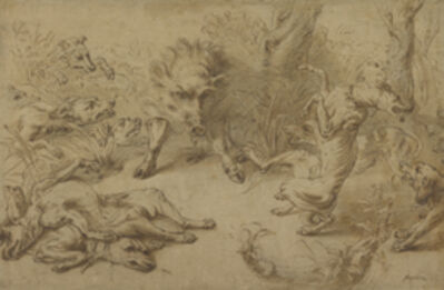 Frans Snyders, 'A Wild Boar at Bay', 1620-1630