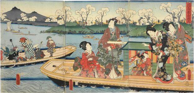 Utagawa Toyokuni III (Utagawa Kunisada), 'Flowers and Birds: Genji and His Companions Sharing a Boat', 1859