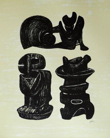 Henry Moore, 'Three Sculptural Forms, from: Poetry   La Poésie', 1973