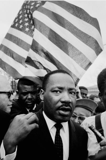 Steve Schapiro, 'Martin Luther King Jr. (with Flag), Selma March', 1965