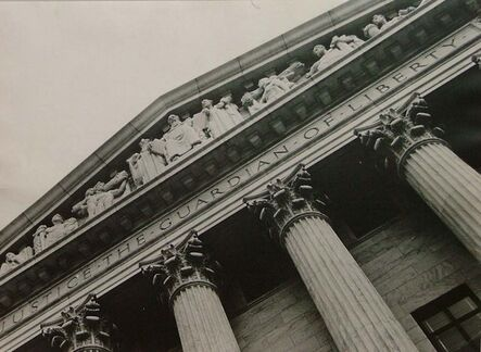 Margaret Bourke-White, 'View of Columns and Sculpted Frieze, Entrace of US Supreme Court Building', 1937