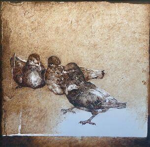 Jamil Naqsh, 'untitled - Three pigeons ', 2014-2017