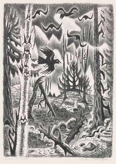 Charles Ephraim Burchfield, 'Crows In March (P. 192)', 1951