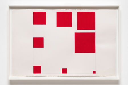 Paul Mogensen, 'no title (cadmium red watercolor, eight squares)', 2016