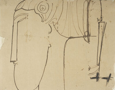 Amedeo Modigliani, 'Two studies for sculpture head in profile to left', ca. 1912-13