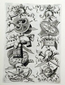 Enea Vico, 'Two Trophies with a Breast Plate and a Ram's Head', 1550