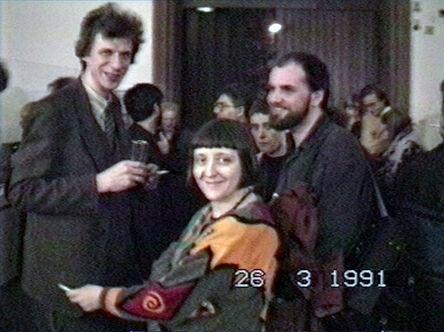 Vadim Zakharov, 'Nikolai Panitkov, Elena Elagina, and Andrei Filippov at the opening of MANI Museum. 40 Moskauer Kuenstler at the Carmelite Monastery in Frankfurt, March 26, 1991', 1991