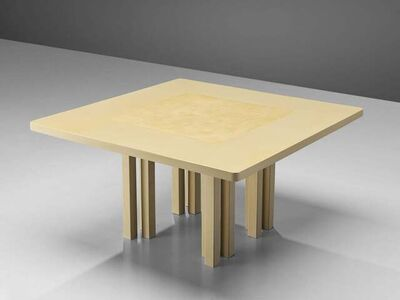 Unknown, 'Belgian Center or Dining Table with Beautiful Inlay and Architectural Base', 1970s