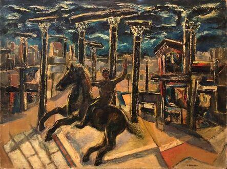 Samuel Brecher, 'Yesterday's, Surrealist Horse Rider, Architectural Ruins Modernist Oil Painting', mid-20th Century