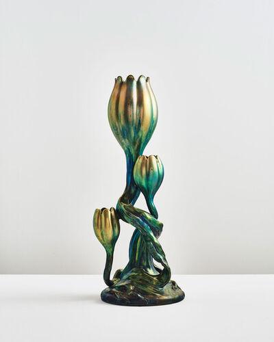 Zsolnay, Pècs Factory, 'Triple Tulip Vase', 1895
