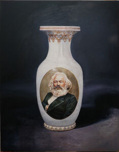Ulrich Lamsfuss, 'Vase with Karl Marx (USSR 1953), red', 2017