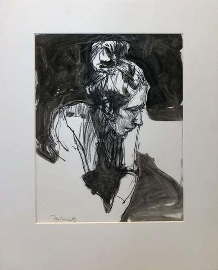 Kim Frohsin, 'Motherhood Ahead / head portrait drawing: ink, pencil, watercolor monochrome', 2009