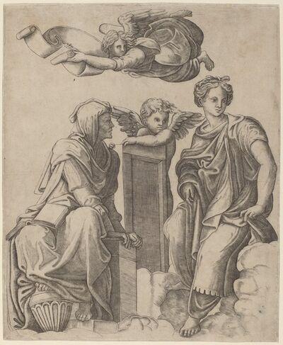 Giovanni Antonio da Brescia after Raphael, 'Two Sibyls and an Angel', ca. 1520/1525