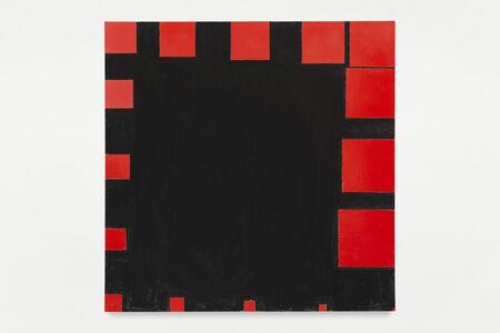 Paul Mogensen, 'no title (cadmium red medium and ivory black, sixteen square progression around the edges)', 2019