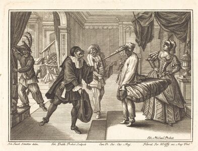 Johann Balthasar Probst after Johann Jacob Schübler, 'Harlequin at Dr. Polovard's House', 1729