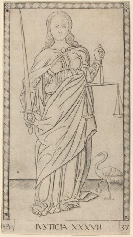 Master of the E-Series Tarocchi, 'Justicia (Justice)', ca. 1465