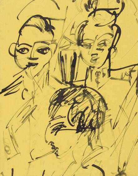 Ernst Ludwig Kirchner, 'Three Officers at Lunch (Kohnstamm Sanatorium)', 1916