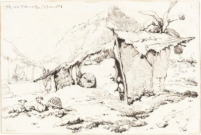 George Chinnery, 'A Village Hut in India [recto]', 1814/1824