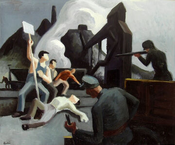 Thomas Hart Benton, 'Mine Strike, Pittsburgh PA (Waiting on verso, double-sided work) ', 1933