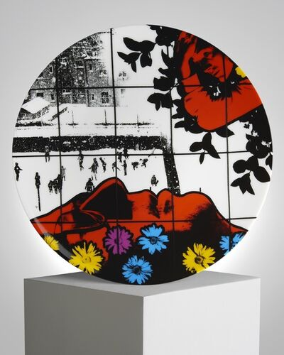 """Gilbert and George, '""""Winter Flowers"""" Porcelain Plate', ca. 2019"""