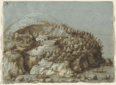 Gherardo Cibo, 'Hilly Landscape with Ships'