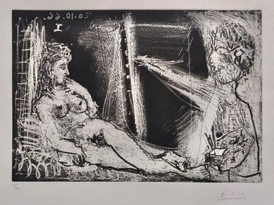 Pablo Picasso, 'Painter in Half-figure and Reclining Model', 1966