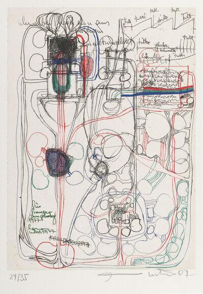 """Hermann Nitsch, '""""o.T."""" aus Mappe """"Frühe Architekturzeichnungen""""', 2007"""
