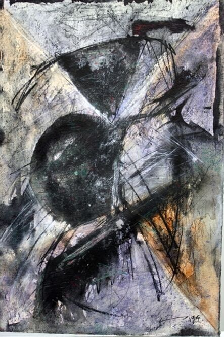 Vijay Shinde, 'Untitled (Black and Purple Abstraction)', 1994