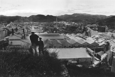 Takeshi Ishikawa, 'Eugene Smith and Aileen Smith gazing out at the entire factory site from the hill behind the Chisso factory', 1971