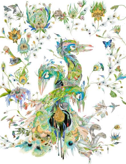 Laura Ball, 'Wild Flowers (Peacock Botanical)', 2020