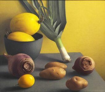 Amy Weiskopf, 'StillLife with Leek and Yellow Melon', 2016