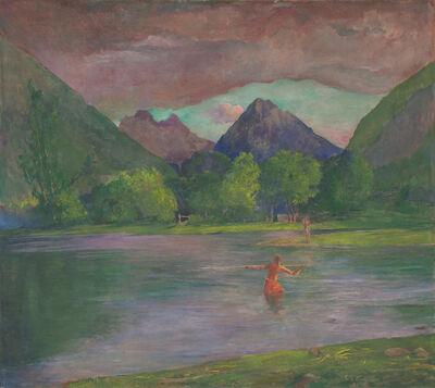 John La Farge, 'The Entrance to the Tautira River, Tahiti. Fisherman Spearing a Fish', ca. 1895