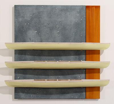 David Ruddell, 'Blackboard, Fir and Three Yellow Boats', 2012